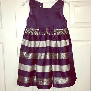 Girls navy striped dress
